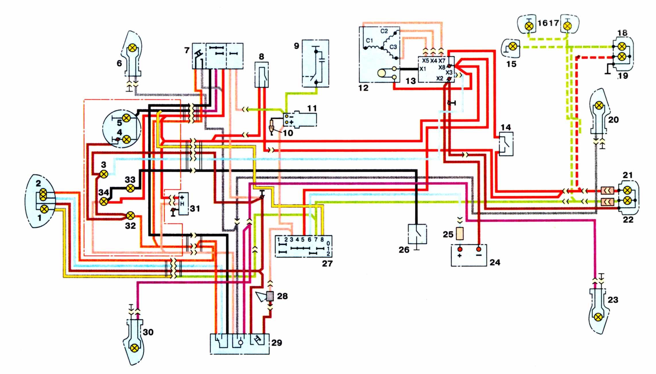 Схема электрооборудования мотоциклов ИЖ-56, Иж-Планета, Иж-Юпитер ИЖ-56 1 - включатель стоп.